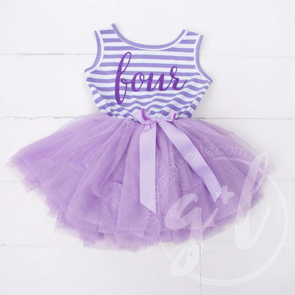 "4th Birthday Dress Purple Script ""FOUR"" Purple Striped Sleeveless - Grace and Lucille"