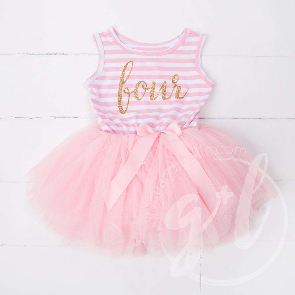 "4th Birthday Dress Gold Script ""FOUR"" Pink Striped Sleeveless - Grace and Lucille"