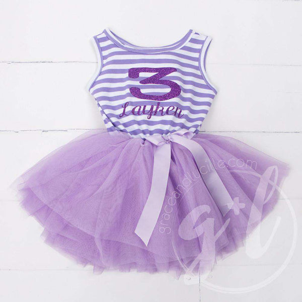 Birthday Dress Purple Sport Jersey-style Name and her AGE Purple Striped Sleeveless - Grace and Lucille