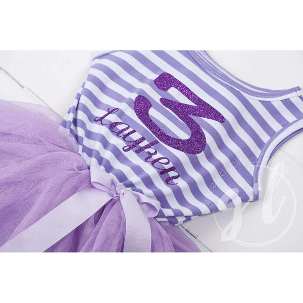 "3rd Birthday Dress Purple Sport Jersey-style Name and Number ""3"" Purple Striped Sleeveless - Grace and Lucille"