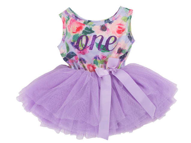 Lavender Floral Sleeveless Tutu Dress - (2nd Birthday Dress - 2nd Birthday Outfit)