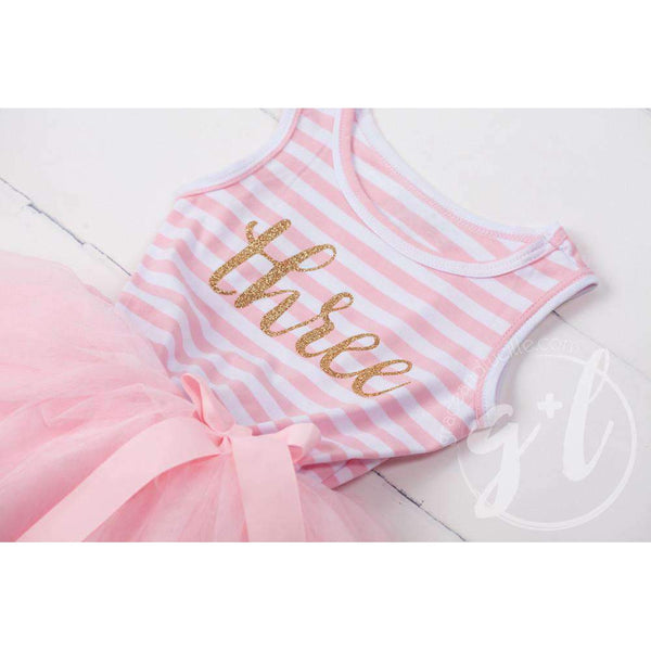 "3rd Birthday Dress Gold Script ""THREE"" Pink Striped Sleeveless - Grace and Lucille"