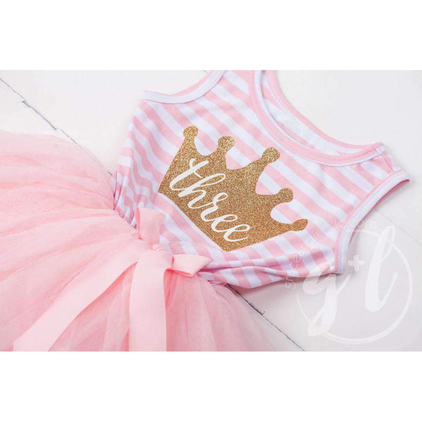 "3rd Birthday Dress Gold Crown ""THREE"" Pink Striped Sleeveless - Grace and Lucille"