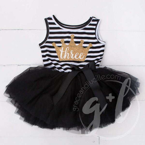 "3rd Birthday Dress Gold Crown ""THREE"" on Black Striped Sleeveless - Grace and Lucille"