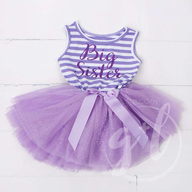 Big Sister Dress Purple Script Purple Striped LONG Sleeve - Grace and Lucille