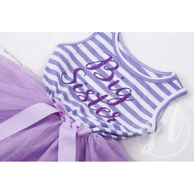 Big Sister Dress Purple Script Purple Striped Sleeveless - Grace and Lucille