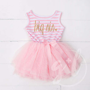 Big Sis Dress Gold Script Pink Striped Sleeveless - Grace and Lucille