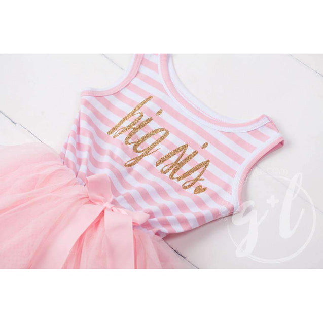 Big Sis Dress Gold Script Pink Striped LONG Sleeves - Grace and Lucille