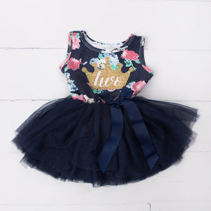 "2nd Birthday Dress Gold Crown ""TWO"" on Navy Floral Sleeveless"
