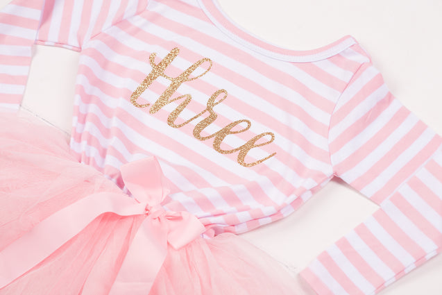 Pink Striped Gold Script Birthday Dress - (Third Birthday Dress - Third Birthday Outfit)