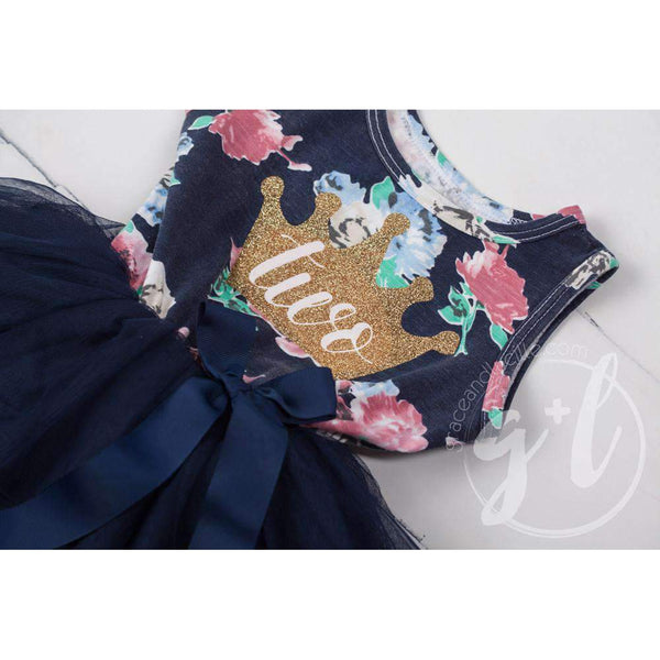 "2nd Birthday Dress Gold Crown ""TWO"" on Navy Floral Sleeveless - Grace and Lucille"