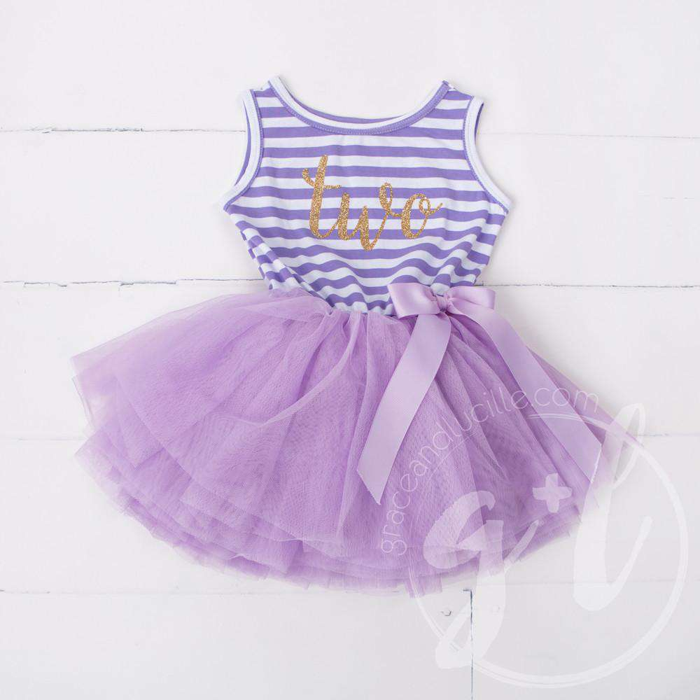 "2nd Birthday Dress Gold Script ""TWO"" Purple Striped Sleeveless - Grace and Lucille"