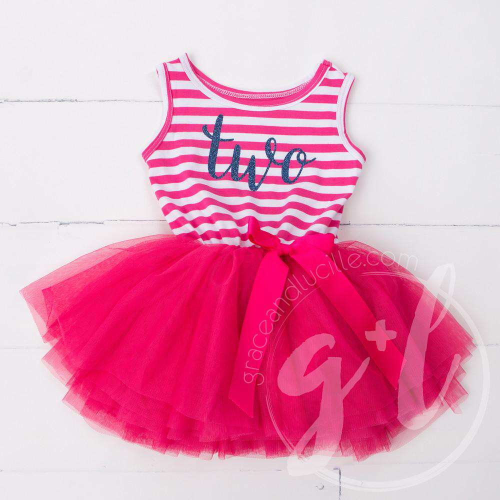 "2nd Birthday Dress Blue Script ""TWO"" Magenta Striped Sleeveless - Grace and Lucille"