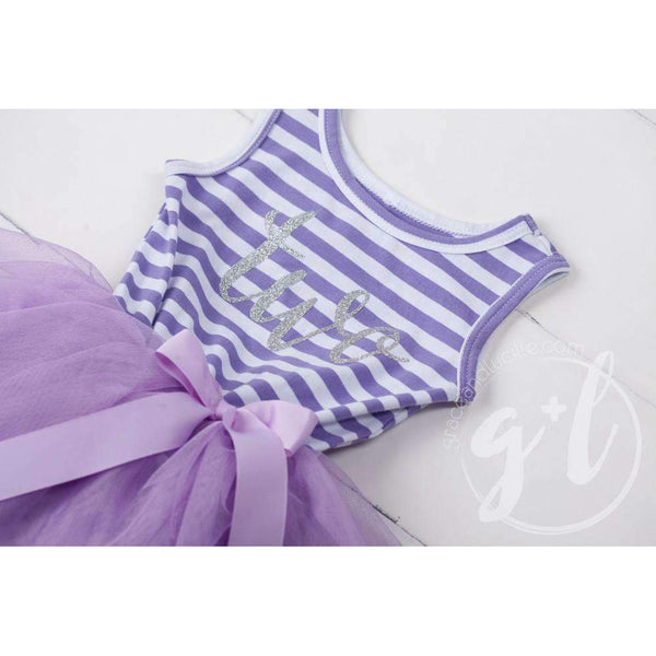 "2nd Birthday Dress Silver Script ""TWO"" Purple Striped Sleeveless - Grace and Lucille"
