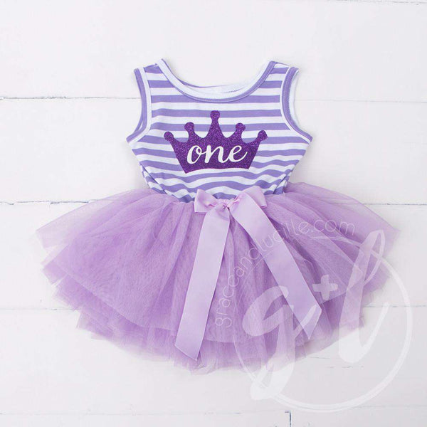 "1st Birthday Dress Purple Crown ""ONE""  Purple Striped Sleeveless - Grace and Lucille"