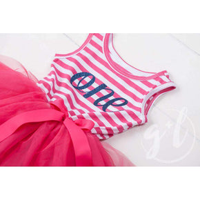"1st Birthday Dress Blue Script ""ONE"" Magenta Striped Sleeveless - Grace and Lucille"