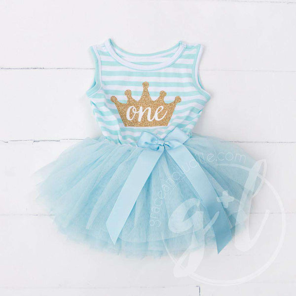 "1st Birthday Dress Gold Crown ""ONE"" Aqua Striped Sleeveless - Grace and Lucille"