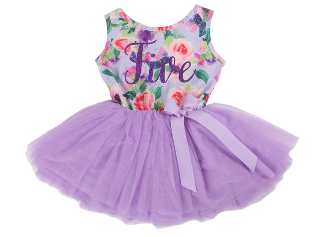 Lavender Floral Sleeveless Tutu Dress - (3rd Birthday Dress - 3rd Birthday Outfit)