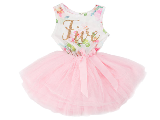Pink Floral Gold Script Birthday Dress (1st Birthday Dress - 1st Birthday Outfit)
