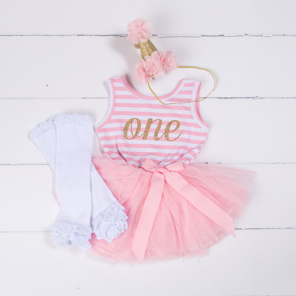 "1st Birthday Outfit Gold Script ""ONE"" Pink Stripe Sleeveless Dress, White Leg Warmers & Pink Hat - Grace and Lucille"