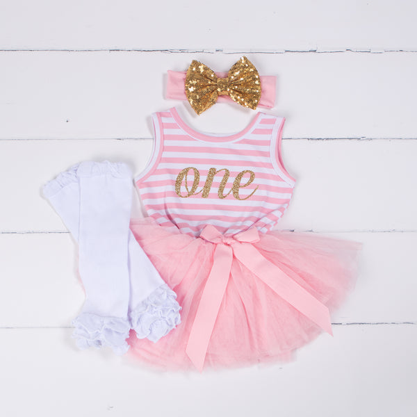 "1st Birthday Outfit Gold Script ""ONE"" Pink Stripe Sleeveless Dress, White Leg Warmers & Gold Bow - Grace and Lucille"