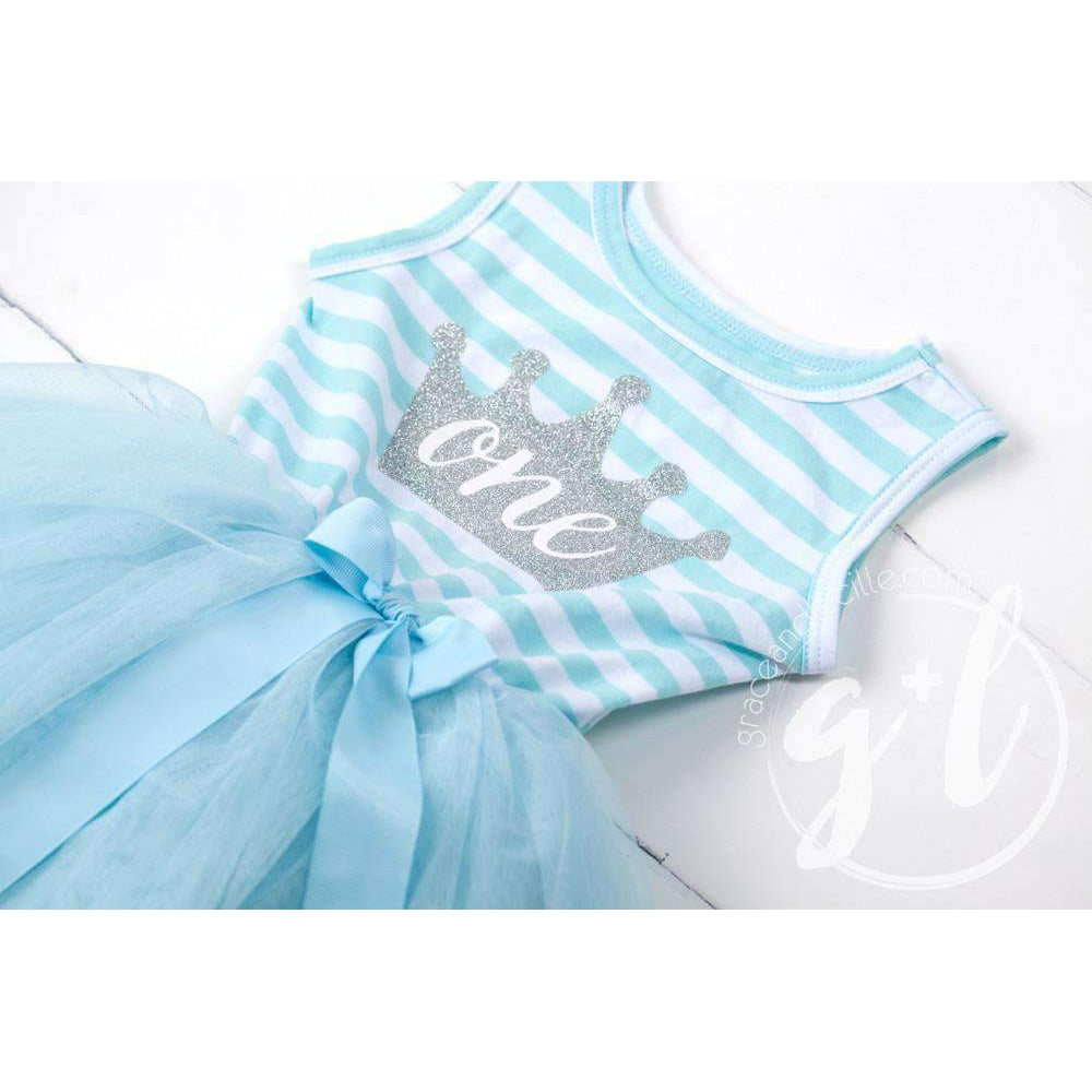 "1st Birthday Dress Silver Crown ""ONE"" Aqua Striped Sleeveless - Grace and Lucille"
