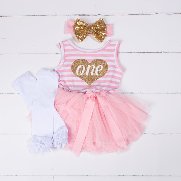 "1st Birthday Outfit Heart of Gold ""ONE"" Pink Striped Sleeveless Dress, White Leg Warmers & Gold Bow - Grace and Lucille"