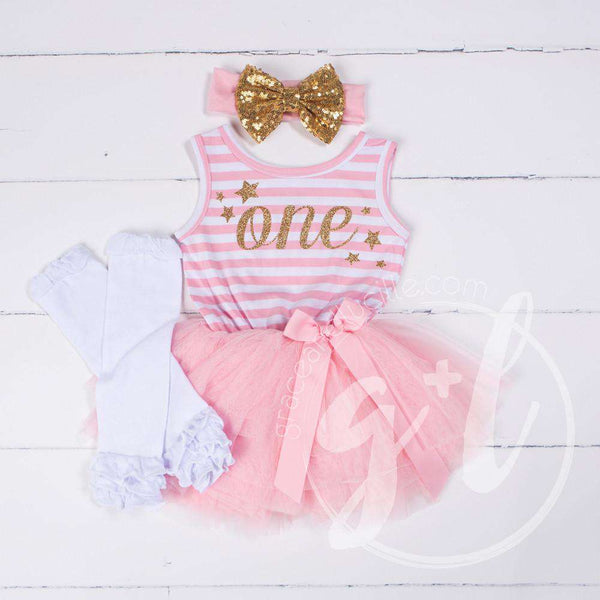 "1st Birthday Outfit Starry Script ""ONE"" Pink Striped Sleeveless Dress, White Leg Warmers & Gold Bow - Grace and Lucille"