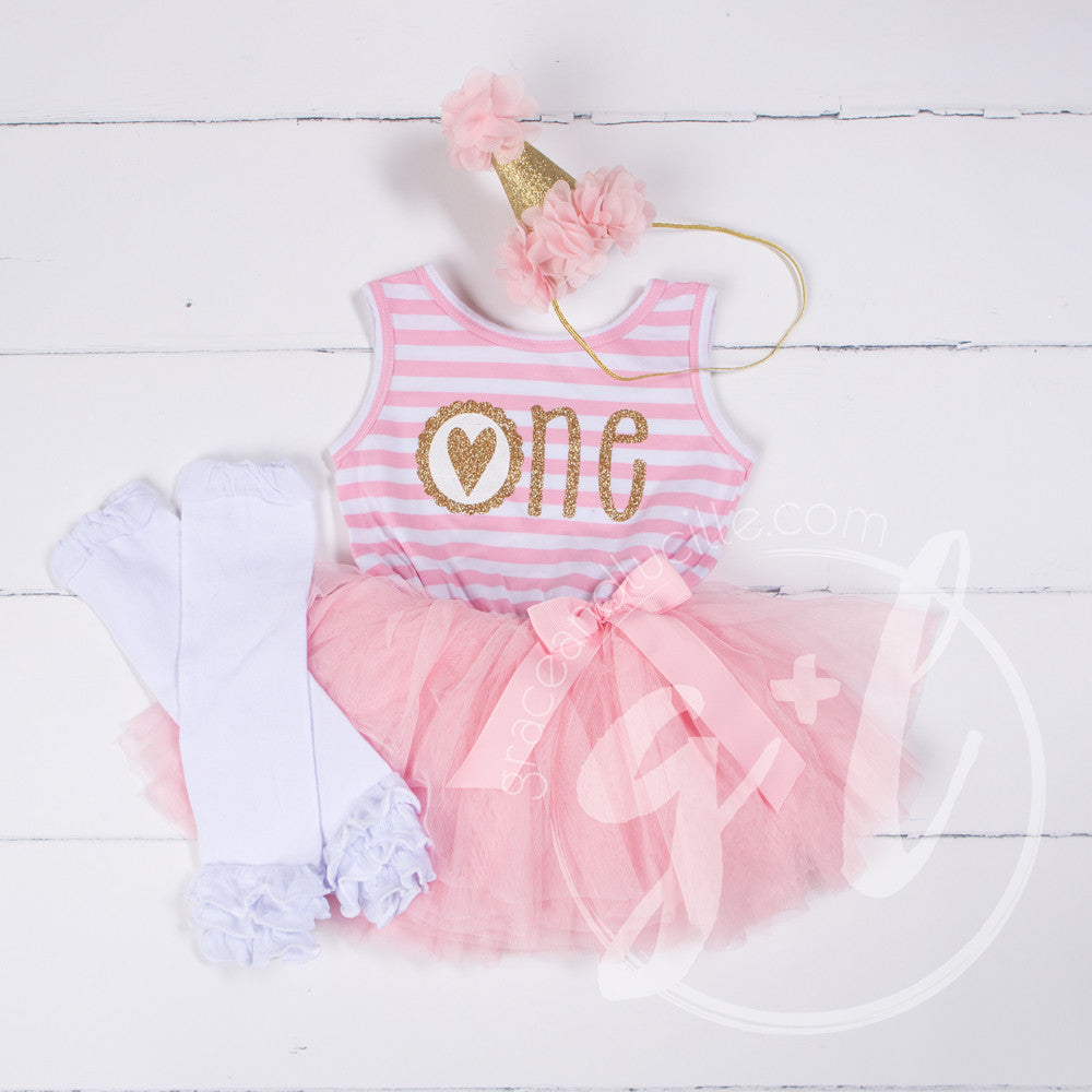 "1st Birthday Outfit Scalloped Heart ""ONE"" Pink Stripe Sleeveless Dress, White Leg Warmers & Pink Hat"