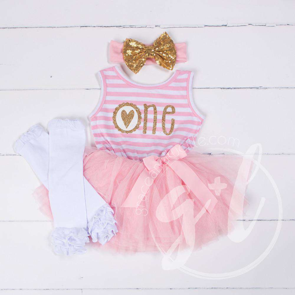 "1st Birthday Outfit Scalloped Heart ""ONE"" Pink Stripe Sleeveless Dress, White Leg Warmers & Gold Bow"