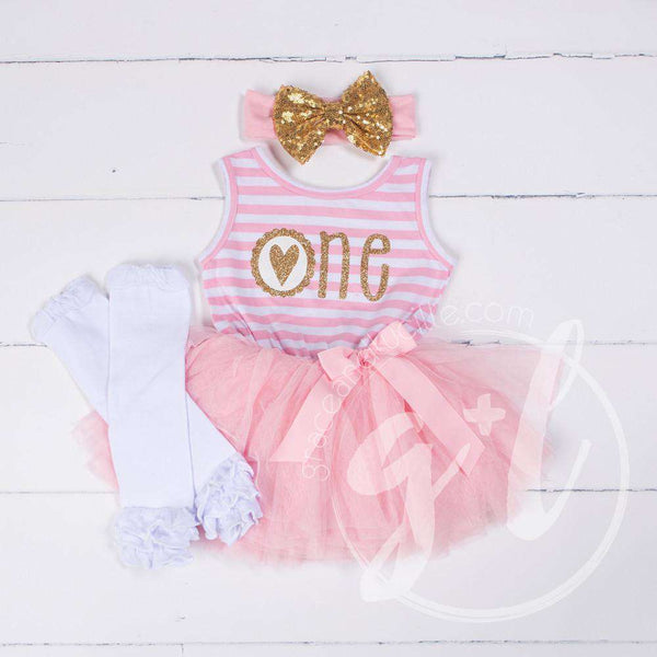"1st Birthday Outfit Scalloped Heart ""ONE"" Pink Stripe Sleeveless Dress, White Leg Warmers & Gold Bow - Grace and Lucille"