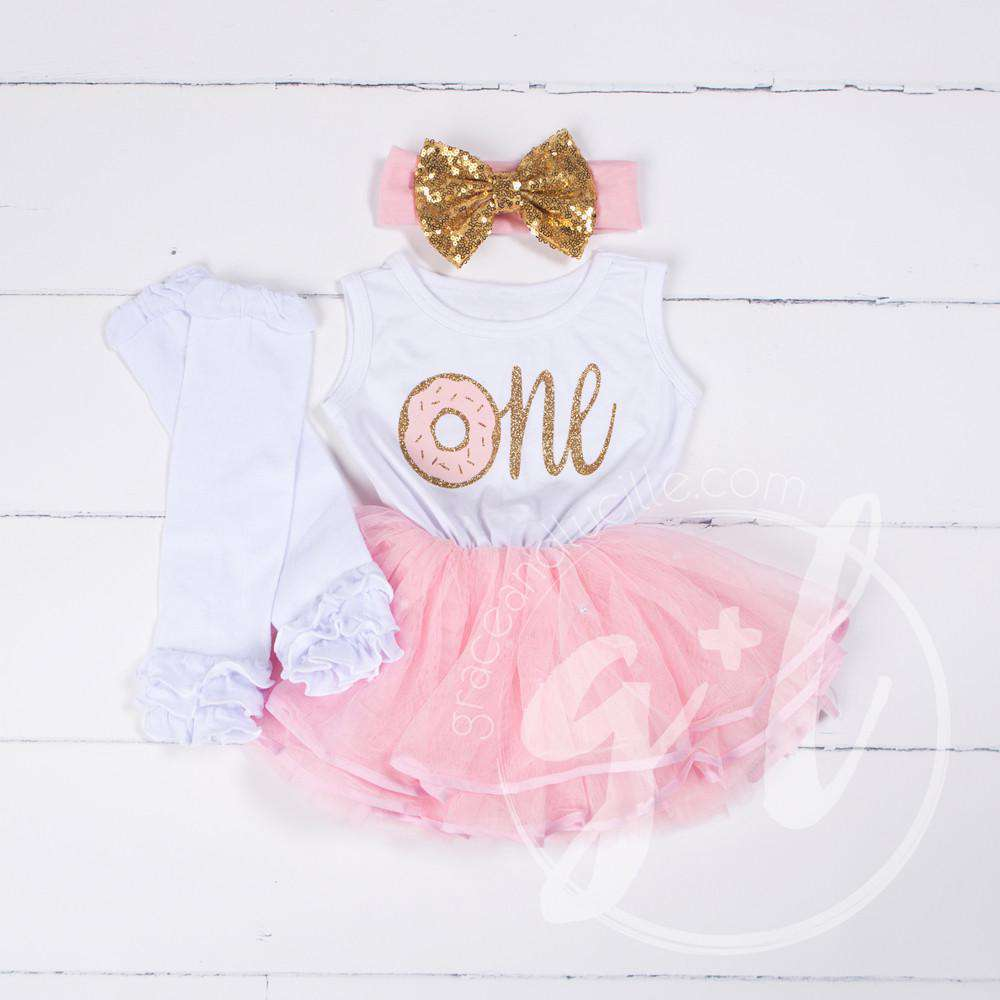 "1st Birthday Outfit Donut ""ONE"" White Sleeveless Pink Tutu Dress, White Leg Warmers & Gold Bow - Grace and Lucille"