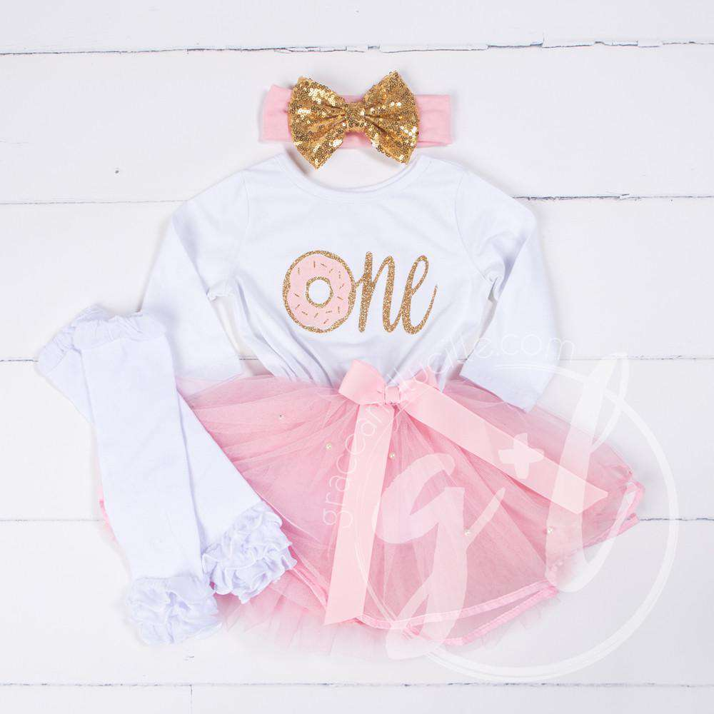"1st Birthday Outfit Donut ""ONE"" White Long Sleeve Pink Tutu Dress White Leg Warmers & Gold Bow - Grace and Lucille"