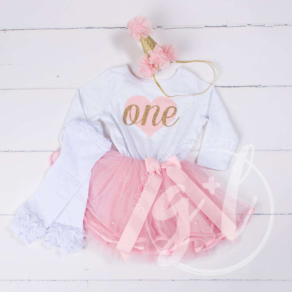 "1st Birthday Outfit Pink Heart ""ONE"" White Long Sleeve Pink Tutu Dress, White Leg Warmers & Pink Hat - Grace and Lucille"