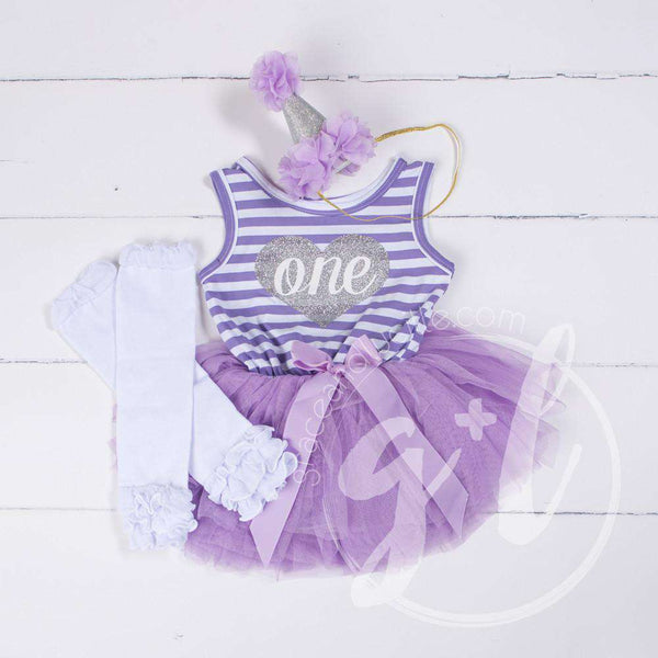 1st Birthday Outfit Purple Stripe Sleeveless Dress Silver Heart ONE , White Leg Warmers & Purple Hat - Grace and Lucille