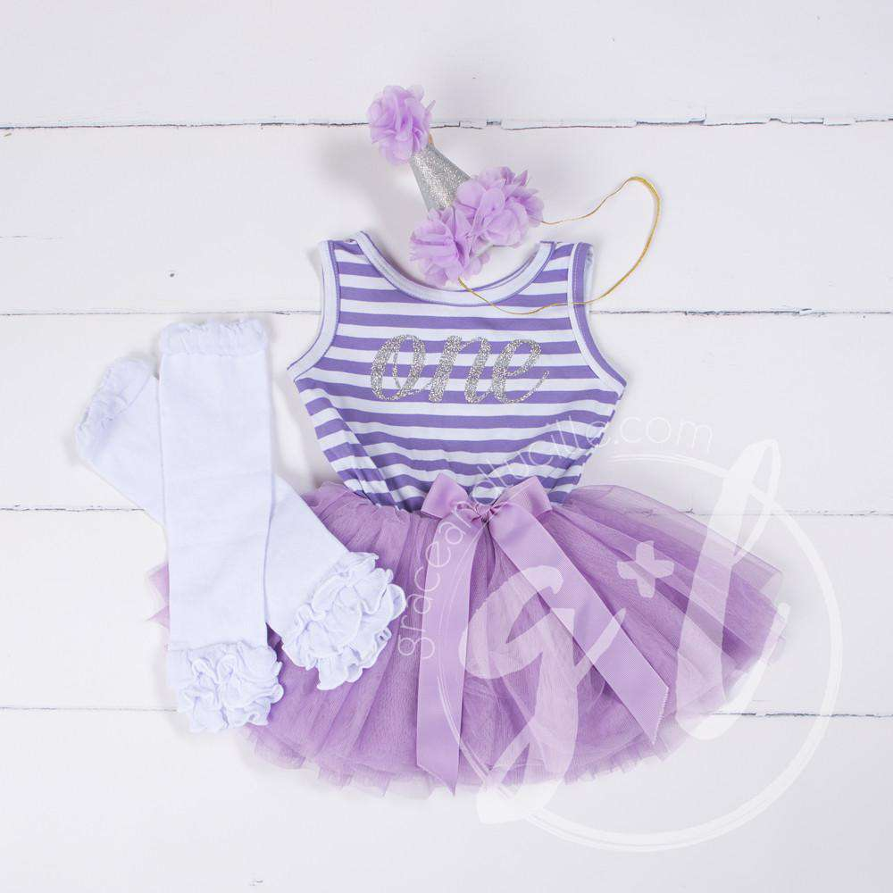 1st Birthday Outfit Purple Stripe Sleeveless Tutu Dress Silver ONE, White Leg Warmers & Purple Hat - Grace and Lucille