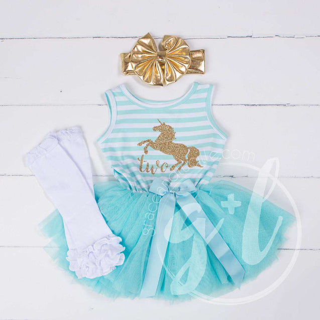 "3rd Birthday Outfit Unicorn ""THREE"" Aqua Stripe Sleeveless Dress, White Leg Warmers & Gold Lame Bow - Grace and Lucille"