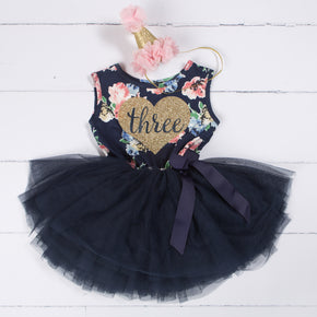 "Third Birthday Outfit Heart of Gold ""THREE"" Navy Floral Sleeveless Tutu Dress & Pink Party Hat"