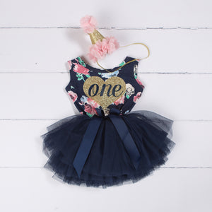 "1st Birthday Outfit Heart of Gold ""ONE"" Navy Floral Sleeveless Tutu Dress & Pink Party Hat"