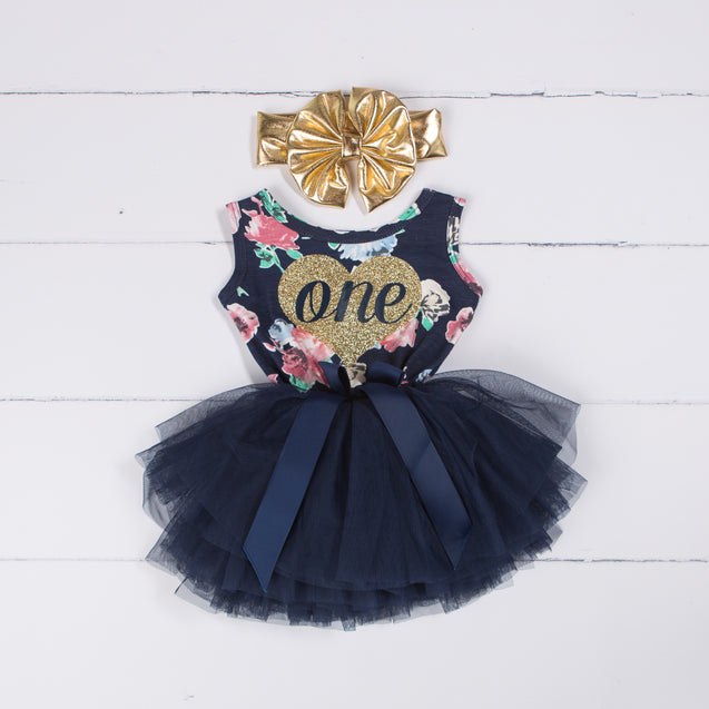 "1st Birthday Dress Outfit Heart of Gold with ""ONE"" on Navy Floral Sleeveless with Gold Bow Headband"