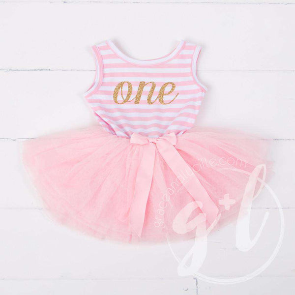 "1st Birthday Dress Gold Script ""ONE"" Pink Striped Sleeveless - Grace and Lucille"