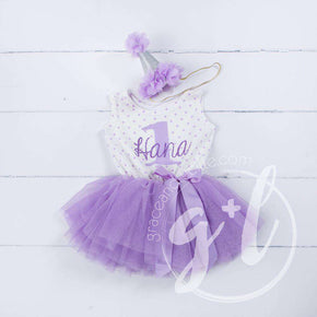 1st Birthday Outfit Purple ONE & HER NAME Purple Polka Dot Sleeveless Tutu Dress & Purple Party Hat - Grace and Lucille