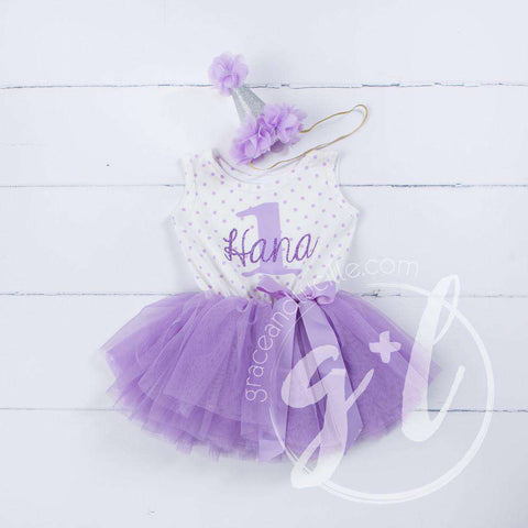 1st Birthday Outfit Purple ONE & HER NAME Purple Polka Dot Sleeveless Tutu Dress & Purple Party Hat
