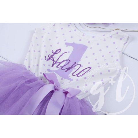 1st Birthday Outfit ONE & HER NAME Purple Polka Dot Sleeveless Tutu Dress & Opalescent Bow Headband