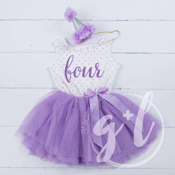 4th Birthday Outfit Purple FOUR & HER NAME Purple Polka Dot Sleeveless Tutu Dress & Purple Party Hat - Grace and Lucille