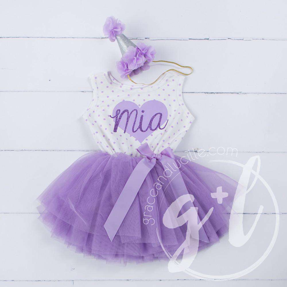 "Purple Heart ""HER NAME"" Outfit, Purple Polka Dot Sleeveless Tutu Dress & Purple Party Hat"