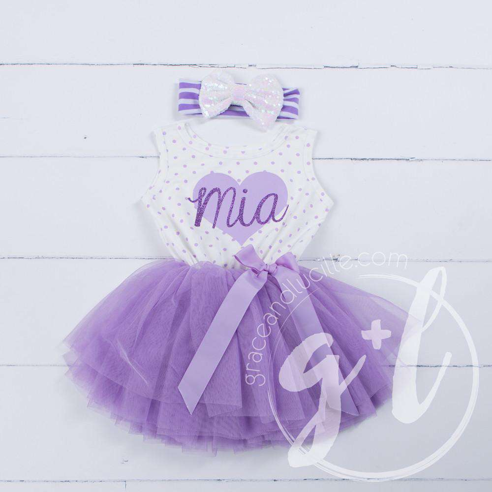 "Purple Heart ""HER NAME"" Outfit, Purple Polka Dot Sleeveless Tutu Dress & Opalescent Bow Headband - Grace and Lucille"