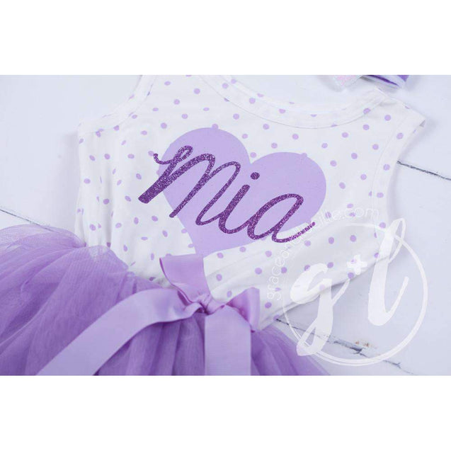 "Purple Heart ""HER NAME"" Outfit, Purple Polka Dot Sleeveless Tutu Dress & Purple Party Hat - Grace and Lucille"