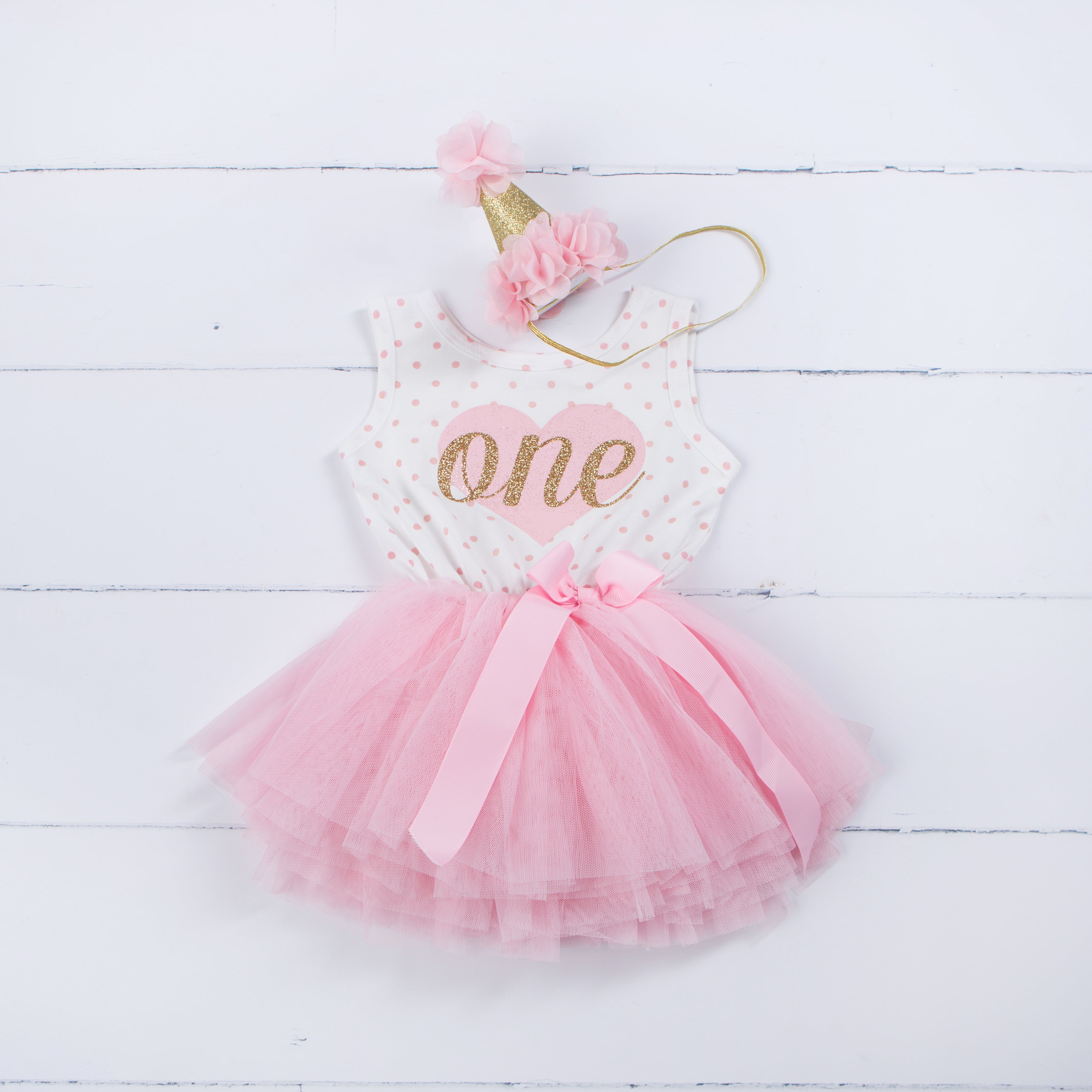 "1st Birthday Outfit Pink Heart/Gold ""ONE"" Polka Dot Sleeveless Tutu Dress & Pink Party Hat - Grace and Lucille"