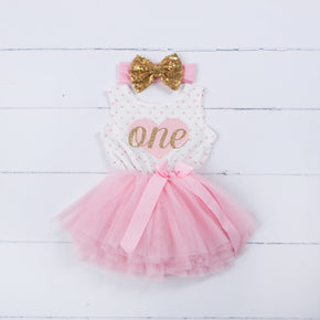 "1st Birthday Outfit Pink Heart/Gold ""ONE"" Polka Dot Sleeveless Tutu Dress & Gold Bow Headband - Grace and Lucille"